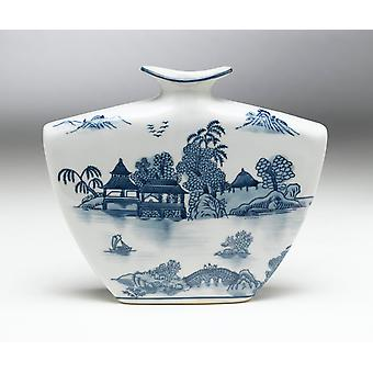 AA Importing 59725 Flat Blue And White Vase