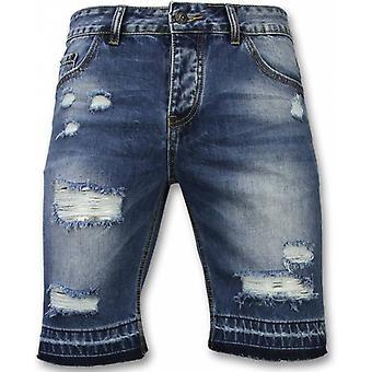 Shorts - Slim Fit Ripped Shorts - Blue