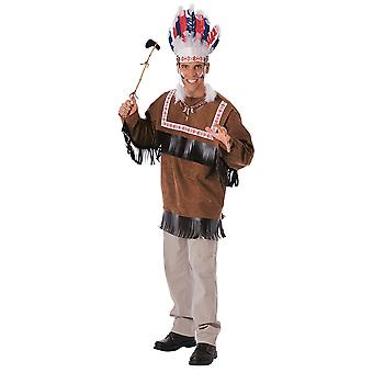 Cherokee Warrior Indian Chief infödda amerikanska Western West vuxen mens kostym