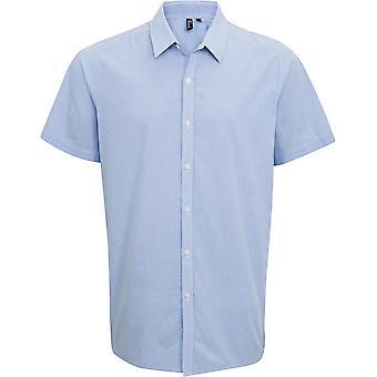 Premier-mens microcheck (GINGHAM) bomull Kortärmad skjorta