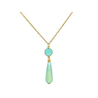 Gemshine chain seagreen chalcedony, opal pendant. 925 Silver or gold-plated