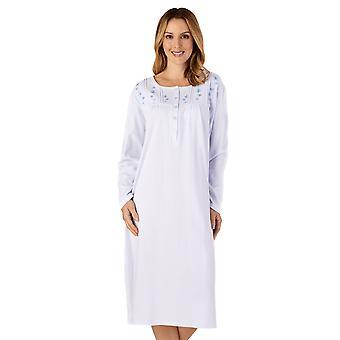 Slenderella ND4121 kvinnor ' s Jersey blommig broderad bomull nattlinne