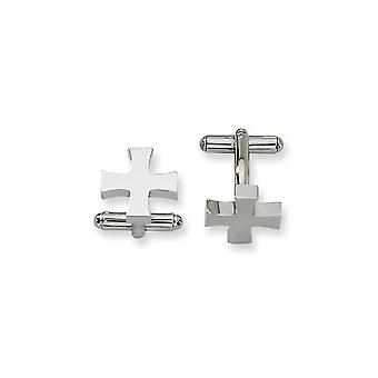Stainless Steel Polished Religious Faith Cross Cuff Links Jewelry Gifts for Men