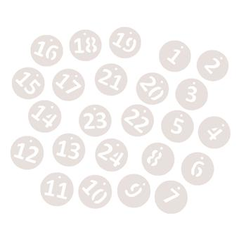 24 White Number Tags for Advent Calendar Crafts