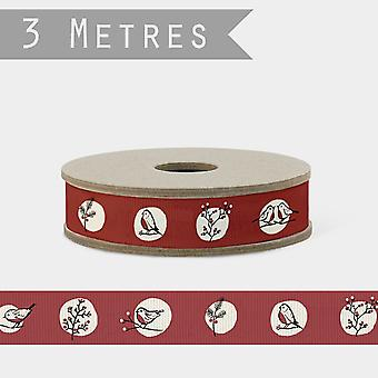 East of India Robins in Dots RED Craft Ribbon 3m