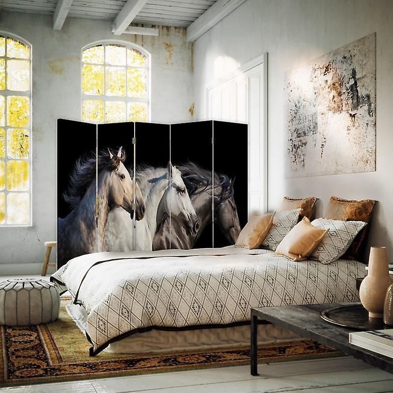 Room Divider, 5 panneaux, Double-Sided, Rotatable 360 ?? Canvas, Trois Chevaux