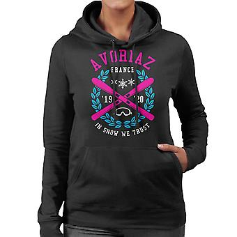 Avoriaz France '19 '20 Skiing Crest Women's Hooded Sweatshirt