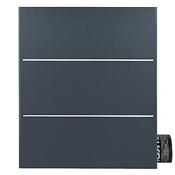 MOCAVI Box 141R Design letterbox with newspaper compartment anthracite-grey (RAL 7016) with stainless steel detail