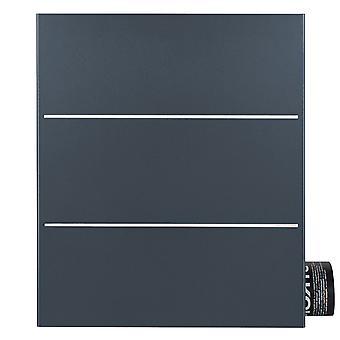 MOCAVI Box 141R Design-Briefkasten mit Zeitungsfach anthrazit-grau (RAL 7016) mit Edelstahl-Detail
