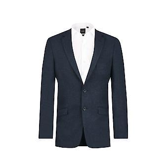 Dobell Mens Navy Donegal Tweed Jacket Slim Fit Notch Lapel