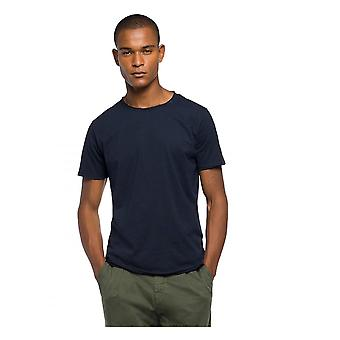Replay Jeans Replay Raw Cut Cotton T Shirt Midnight Blue