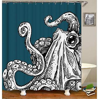 Black & White Octopus Over Turquoise Shower Curtain