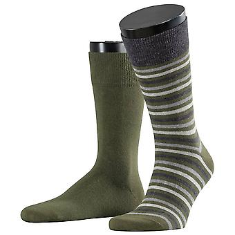 Esprit Multi Stripe 2-Pack Socks - Dark Moss Green