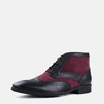 Alfred black & bordo suede leather brogue boot
