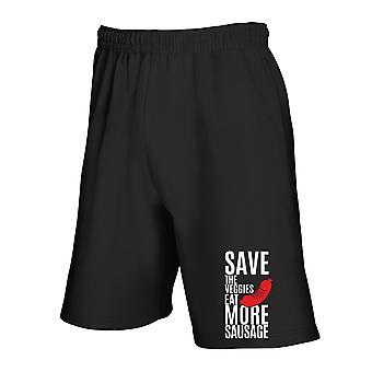 Black tracksuit shorts wes0306 save the veggies eat more sausage
