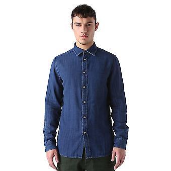 Diesel S-Krammbeeren Long Sleeved Shirt Denim Blue