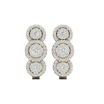 IGI-Certified-DeCouer-1/2-Ct-TDW-Diamond-10K-Yellow-Gold-Trio-Cluster-Halo-Hoop-Earrings-(H-I,-I2)