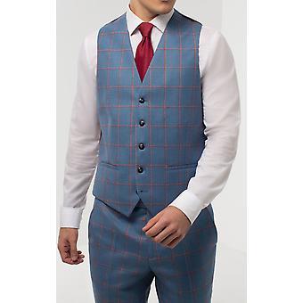 Holland & Sherry mens blå vest Regular Fit 100% ull vindusrute sjekk