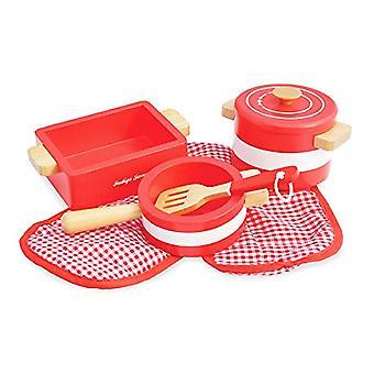 Jamm Indigo macetas n ollas juego de Play rojo de juguete de madera - diseñado para niños de 3 años más