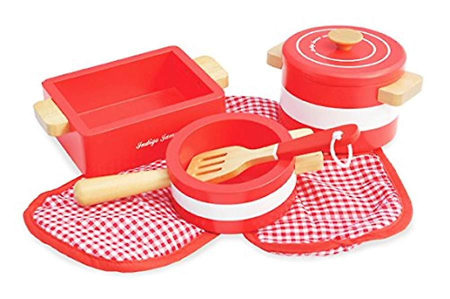 Indigo Jamm Pots 'n' Pans Wooden Toy Red Play Set - Designed For Children Aged 3 Years Plus