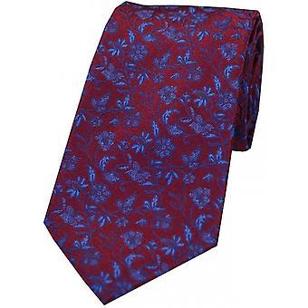 David Van Hagen Small Flowers Pattern Silk Tie - Wine/Navy