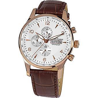 Reloj Jacques Lemans 1-1844F-de los hombres, analógico, de cuarzo, correa de cuero, modelo Londres