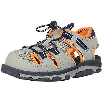 New Balance Unisex-Kid's Adirondack Sandal Sport, Grey/Orange, G5 M US Big Kid