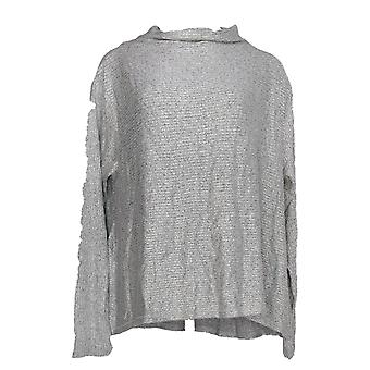 Anybody Women's Sweater Ribbed Brushed Hacci Soft Funnel Neck Gray A297306