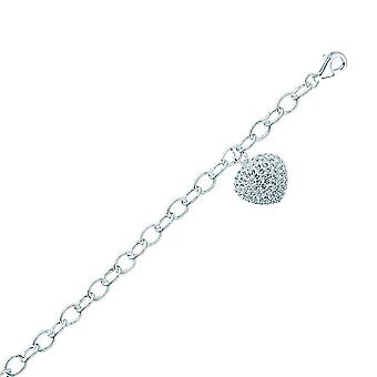 925 Sterling Silver Rhodium Plated Rolo With Crystal Heart Bracelet 7.50 Inch Jewelry Gifts for Women