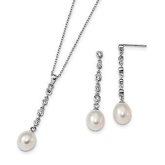 925 Sterling Silver Rh 8 9mm White Freshwater Cultured Pearl CZ Cubic Zirconia Simulated Diamond Earrings Necklace Set J