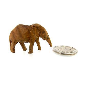Kézzel készített fa elefánt szobor - 4,5 cm