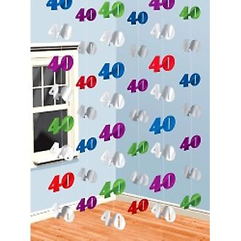 Hanging String Decorations 40 - Numeral 40 - Pack of 6 (Quantity 1) ** 2 only in stock **