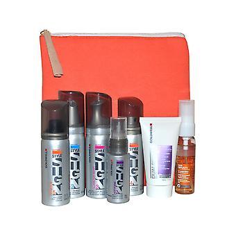 Goldwell Travel Pack - Shampoo, Mousse, Wax behandeling, plakken en beveiligen met tas