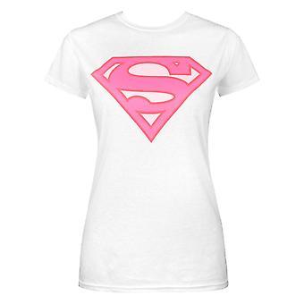 Superman Pink Logo Women's Ladies White T-Shirt