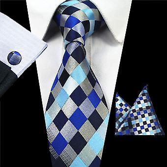 Blue & silver pattern tie cuff link & pocket square set