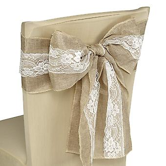 Vintage Hessian Sashes Chair Cover Bows Sewed Edge with White Lace
