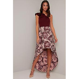 One Shoulder Jacquard Floral Print Dress