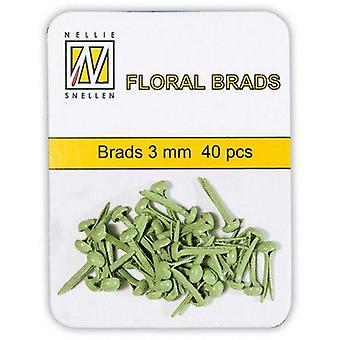 Nellie's Choice Glitter brads Light Green 40 PC 3mm FLLP-GB-005
