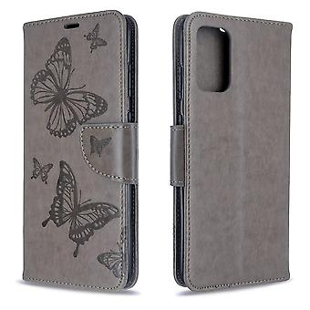 For Samsung Galaxy S20+ Plus Case, Butterflies Pattern PU Leather Wallet Cover with Stand & Lanyard, Grey