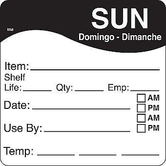 DayMark Removable Sunday Shelf Life Use By Labels