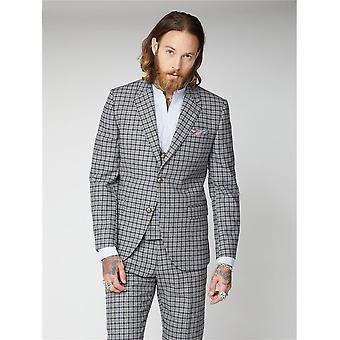 Cheyne Szürke A Navy & Brown Check Suit Kabát