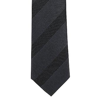 Michelsons of London Dash Stripe Skinny Polyester Tie - Grey