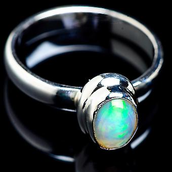 Natural Ethiopian Opal Ring Size 9 (925 Sterling Silver)  - Handmade Boho Vintage Jewelry RING4744