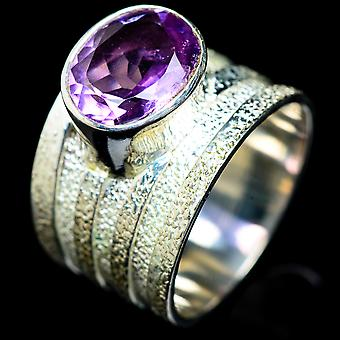Faceted Amethyst Ring Size 7.75 (925 Sterling Silver)  - Handmade Boho Vintage Jewelry RING5470