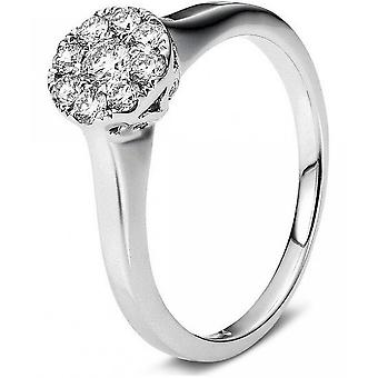 Diamond ring - 14K 585 white gold - 0.36 ct.