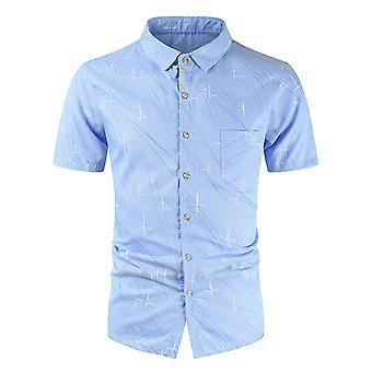 Allthemen Men&apos,s tryckt skjorta kort ärm bröstficka sommartröjor XS-XXL