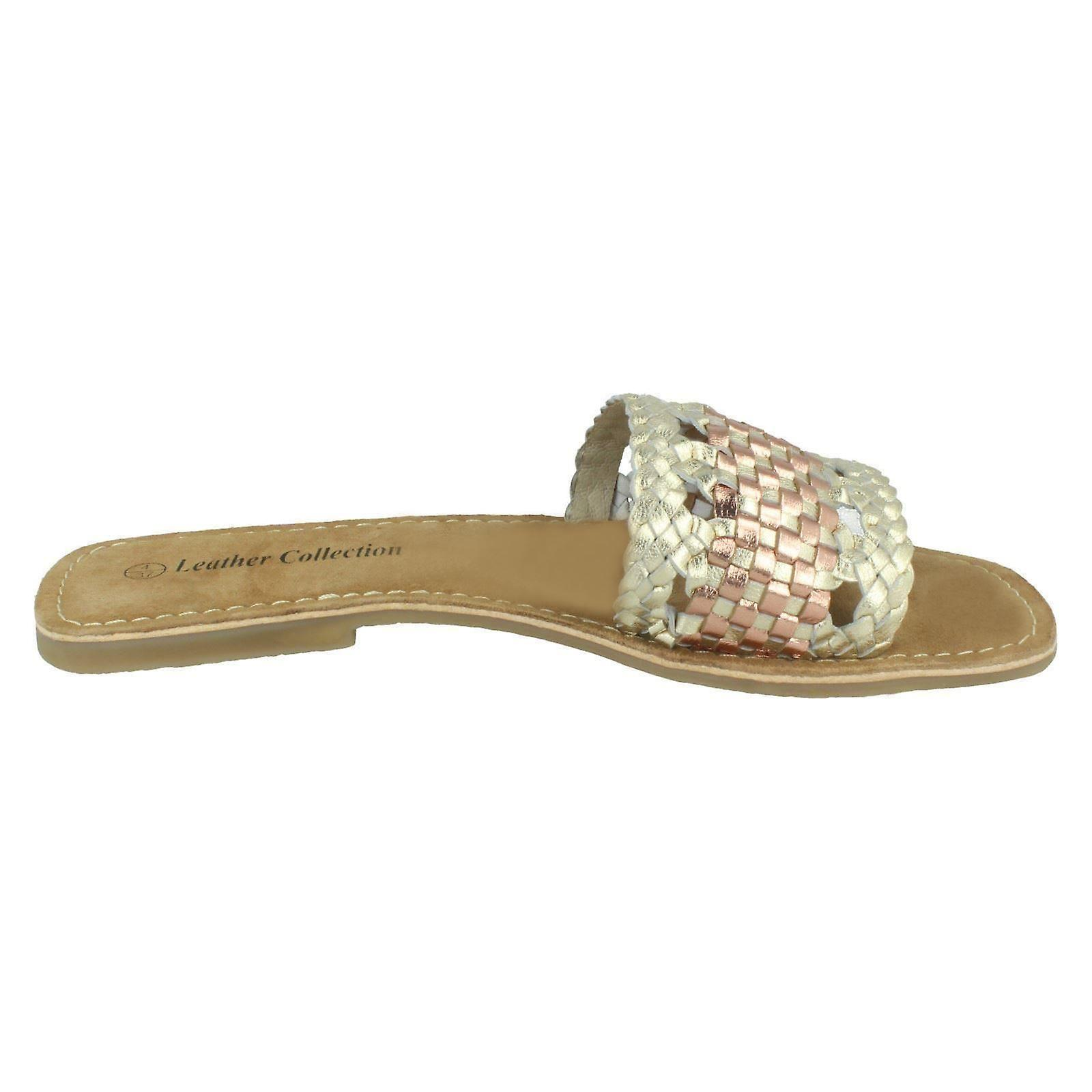 Ladies Leather Collection Flat Weave Mules F00272