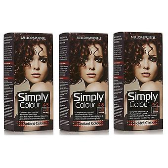 3 x Mellor & Russell Einfach permanente Haarfarbe - 4.5 Deep Red Brown