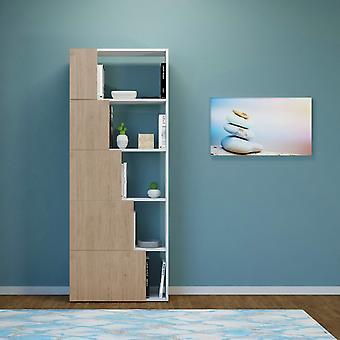 Skipper Farve Hvid, Natural Wood Bibliotek i Melaminic Chip 65x22x166 cm