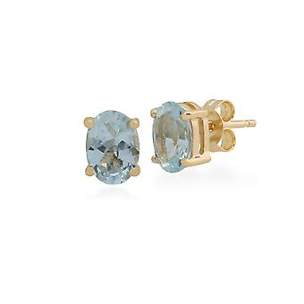 Classic Oval Aquamarine Claw Set Stud Earrings in 9ct Yellow Gold 10239